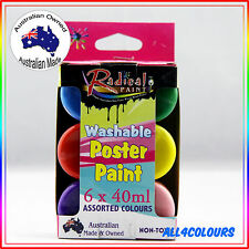 Australian Non-Toxic Washable Poster Paint Kit 6 Colours Pack Radical Paint 40ml