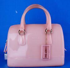 Auth FURLA CANDY BAG Peach Pink PVC Small Boston Hand Bag Handbag Purse Italy