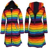 Women Fleece Lined Knee Length Rainbow Jacket Hippie Striped Pointed Long Hoodie
