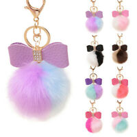 WOMENS HANDBAG KEY RING FUR BALL POM POM BOWKNOT CELL PHONE CAR PENDANT KEYCHAIN