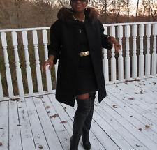 Designer vintage Black Mod Princess Lilli Ann Mink fur trim Coat Jacket S 0-6