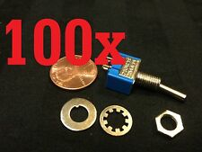 100x ON-OFF Toggle Switch SPST MTS-101 6mm 1/4 sub miniature on off 100pcs  b12