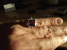 Big square cut genuine Amethyst beaded frame ring 3.66 CTW - Size 7