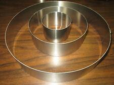 """New ~ Metal Cake Ring Set of Three ~ 2"""" Deep ~ Sizes 3"""" 6"""" & 10"""" ~ Baking Mold"""