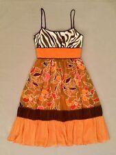 BCBG PARIS Dress Size 2 Silk Orange White Brown Spaghetti Straps Floral Lined
