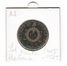 1 Sol l'an II 1793 T Nantes piece monnaie ancienne France revolutionnaire