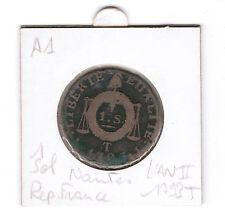 1 Sol l'an II 1793 T Nantes piece monnaie ancienne France revolutionnaire
