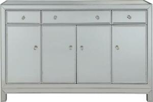 BUFFET CABINET SIDEBOARD MODERN CONTEMPORARY ANTIQUE SILVER PAINT SOLID WOOD 4