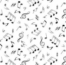Fabric Music Notes Black on White Elizabeth Cotton 1/4 yard 148E
