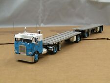 Dcp Custom blue/white Freightliner coe w/custom hay double pup trailers 1/64