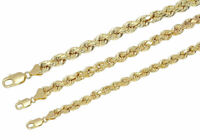 "Real 10k Yellow Gold 5mm-7mm Diamond Cut Rope Chain Pendant Necklace 16""-30"""