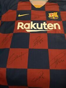 Signed Barcelona FC 2021 Football Shirt Suarez Messi Griezmann Busquets De Jong
