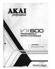 Akai VX600 Synthesizer Owners Instruction Manual