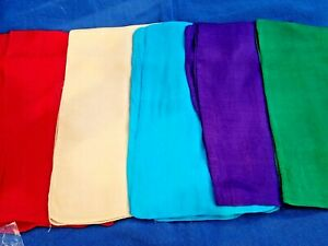 """INDIAN100% PURE SILK HANDMADE SCARVES 21""""/53cm SQUARE 5 COLOURS £8.50 each"""