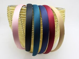 """12 Mixed Color Wide 15mm(5/8"""") Alice Covered Satin Hair Band Headband Head Wear"""