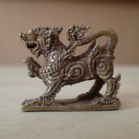 Singha Guardian Lion Mini Brass Statue Asian Amulet Thai Talisman Charm 27mm