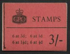 M15 3/- Wilding Crowns GPO booklet - Oct 1959 Wmk Inverted on ½d pane