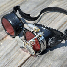 Black Steampunk Goggles with Red Lenses and Magnifying Loupes