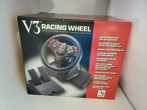 NEW V3 DRIVING STEERING WHEEL CONTROLLER W/ GAS BRAKE PEDALS FOR N64 NINTENDO 64