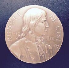 France Claude Joseph Rouget de L'Isle La Marseillaise Medal 1911 by A Borrel M55