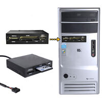 "3.5"" All In 1 Internal Card Reader USB 2.0 9 Pin Flash Memory Black SD MS CF TF"