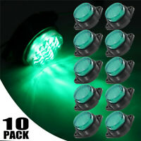 10X 6LED Green LED Light Clearance Trailer Truck Front Rear Side Marker Lamp 24V