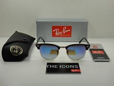 RAY-BAN CLUBMASTER SUNGLASSES RB3016 990/7Q TORTOISE&GOLD/BLUE LENS 49MM, NEW!