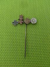 GERMAN -Pin Badge. War Merit Cross Silver, Iron Cross, & KVK in Bronze. 1957 Pat