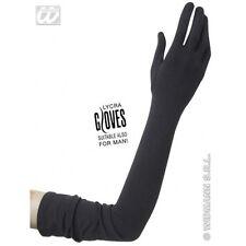 60cm Black Lycra Gloves - Gala Lace Neon Fancy Dress Costumes Accessory