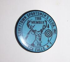 1988 KUNEYTOWN SPORTSMAN CLUB SENECA FALLS NY HUNTING FISHING PINBACK BADGE