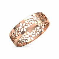 Floral Encrusted Cutout Stackable Wedding Band Ring Women 14k Rose Gold Finish