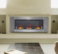 "53.5"" Wall Mounted Bio Ethanol Fireplace W/ 3 Insert Burners Silver Black"