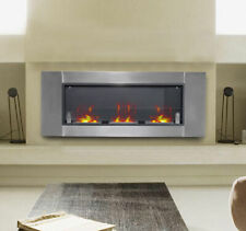 "53.5"" Wall Mounted Bio Ethanol Fireplace W/ 3 Insert Burners Silver Black"