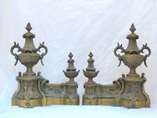 French Antique Ormolu Bronze Rubans Pair Andirons Furniture Pediment Mount 19TH