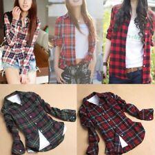 Women Plaid Check Lapel Shirt Long Sleeve Flannel Button Down Blouse Tops S-XXL
