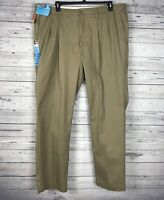 LEE Men's Dark Khaki Motion Comfort Classic Fit Pleated Pants Size 46 x 34 NWT