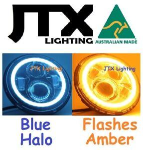 "7"" LED Headlights BLUE Halo Hillman Hunter Gazelle Minx Flashes AMBER turning"