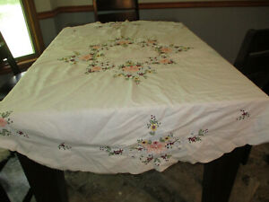 62'' Round Heavily Embroidered Round Tablecloth Vintage