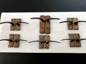 6 Pairs of Vintage Bronze (assumed) Lever Door Handles - (5 Surreyware/1 Legge)
