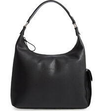 NWT Longchamp Le Foulonne Leather Hobo Bag Black Silver Made in France AUTHENTIC