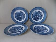 "Royal China ""Currier & Ives - Blue"" 4 Dinner Plates"