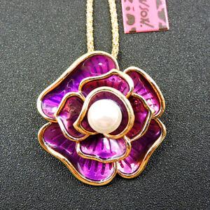 Betsey Johnson Fashion Purple Enamel Pearl Flower Pendant Sweater Necklace
