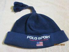 e3e6973f47cfb Vintage Polo Sport Ralph Lauren 3-Tassel Winter Beanie Hat Cap Spellout Flag