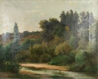LANDSCAPE. OIL ON CANVAS. PEDRO FRANCISCO LIRA. XIX CENTURY.