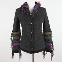 Beyond Threads Alpaca Sweater XS Cardigan Fringed Hippie Boho Festival Fairy Fae