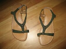 LADIES CUTE GREEN SILVER STUDED FLAT SLIP ON SANDALS NO BRAND SIZE 8.5/9  CHEAP