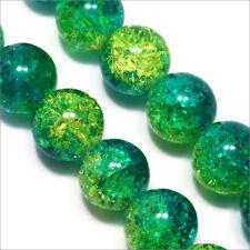 Lot de 20 Perles Craquelées en Verre 12mm Bicolore Vert Jaune