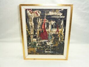 SPAX PAINTING Vtg Brutalist Modern Abstract Wall Art Mid Century Decor