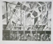 """""""Elevated Structure"""" Precisionist, Futurist, Subway Litho-28/50-40s-August Mosca"""