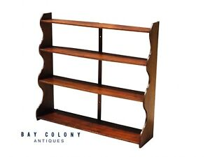 19TH C ANTIQUE QUEEN ANNE STYLE PRIMITIVE HANGING PINE WALL SHELF